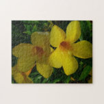Golden Trumpet Flowers II Tropical Floral Jigsaw Puzzle