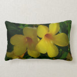 Golden Trumpet Flowers II Tropical Floral Lumbar Pillow