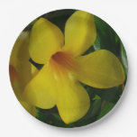 Golden Trumpet Flowers II Tropical Floral Paper Plate