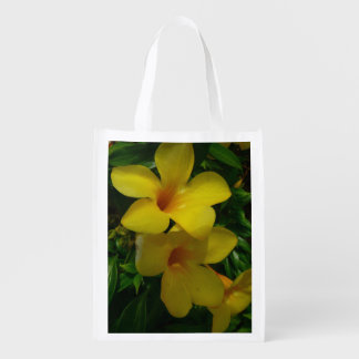Golden Trumpet Flowers II Tropical Floral Reusable Grocery Bag