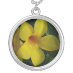 Golden Trumpet Flowers II Tropical Floral Silver Plated Necklace