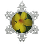 Golden Trumpet Flowers II Tropical Floral Snowflake Pewter Christmas Ornament