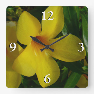 Golden Trumpet Flowers II Tropical Floral Square Wall Clock