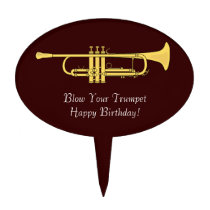 Golden Trumpet Music Birthday Blow Your Own Cake Pick at Zazzle