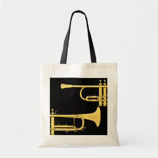 Golden Trumpet Music Theme Canvas Bag