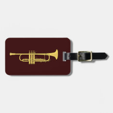 Golden Trumpet Music Theme Bag Tag at Zazzle