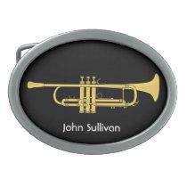 Golden Trumpet Music Theme Belt Buckles at Zazzle