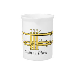Golden Trumpet Music Theme Beverage Pitchers at Zazzle