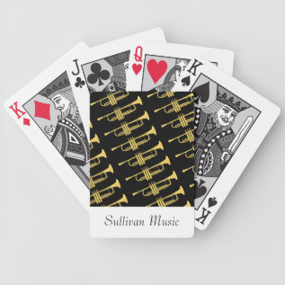 Golden Trumpet Music Theme Bicycle Playing Cards at Zazzle