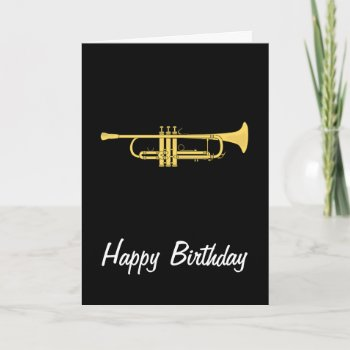 Golden Trumpet Music Theme Birthday Card