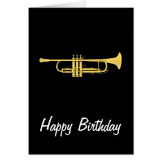 Golden Trumpet Music Theme Birthday Card at Zazzle