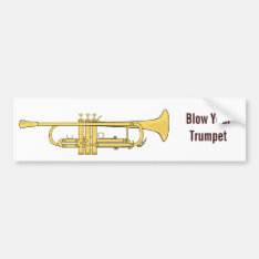 Golden Trumpet Music Theme Bumper Sticker at Zazzle