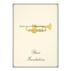 Golden Trumpet Music Theme Card at Zazzle