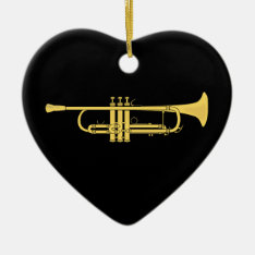 Golden Trumpet Music Theme Ceramic Ornament at Zazzle