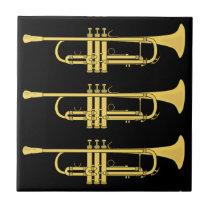 Golden Trumpet Music Theme Ceramic Tiles at Zazzle
