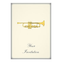 Golden Trumpet Music Theme Custom Invite at Zazzle