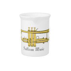 Golden Trumpet Music Theme Drink Pitcher at Zazzle