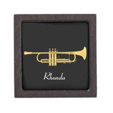 Golden Trumpet Music Theme Jewelry Box at Zazzle