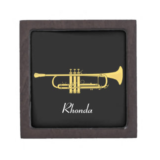 Golden Trumpet Music Theme Jewelry Box