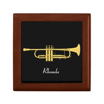 Golden Trumpet Music Theme Keepsake Box by DigitalDreambuilder at Zazzle