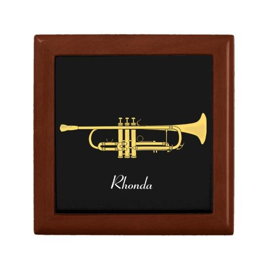 Golden Trumpet Music Theme Keepsake Box