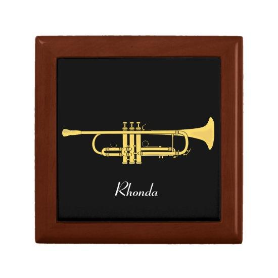 Golden Trumpet Music Theme Keepsake Box