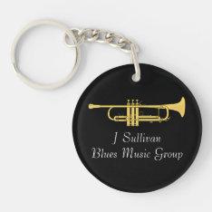 Golden Trumpet Music Theme Keychain at Zazzle