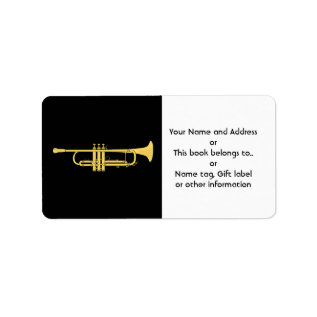 Golden Trumpet Music Theme Label at Zazzle