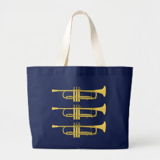 Golden Trumpet Music Theme Large Tote Bag at Zazzle