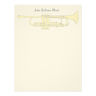 Golden Trumpet Music Theme Letterhead at Zazzle