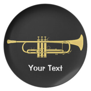 Golden Trumpet Music Theme Melamine Plate at Zazzle
