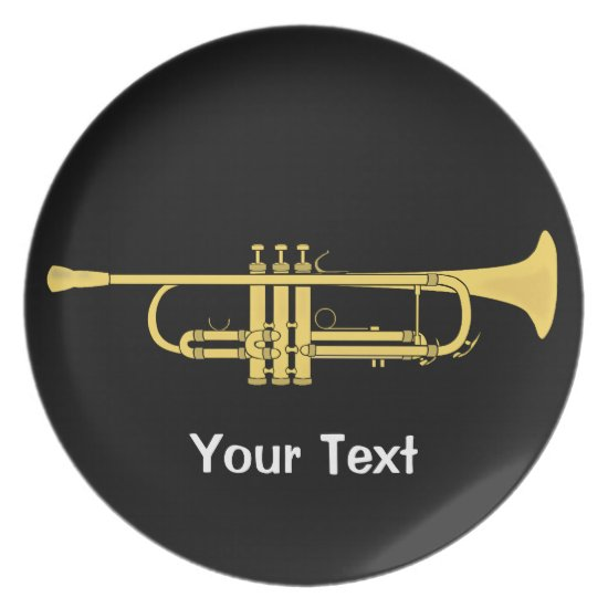 Golden Trumpet Music Theme Melamine Plate