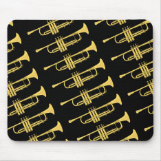 Golden Trumpet Music Theme Mouse Pad at Zazzle