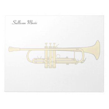 Golden Trumpet Music Theme Notepad by DigitalDreambuilder at Zazzle