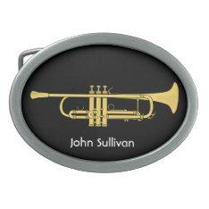 Golden Trumpet Music Theme Oval Belt Buckle at Zazzle