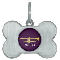 Golden Trumpet Music Theme Pet Name Tag at Zazzle