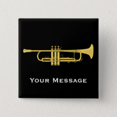 Golden Trumpet Music Theme Pinback Button at Zazzle