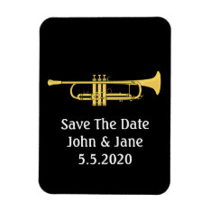 Golden Trumpet  Music Theme Save The Date Wedding Magnet at Zazzle
