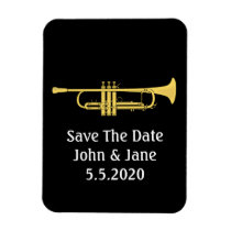 Golden Trumpet  Music Theme Save The Date Wedding Flexible Magnet  at Zazzle