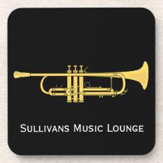 Golden Trumpet Music Theme Set Of 6 Beverage Coaster at Zazzle
