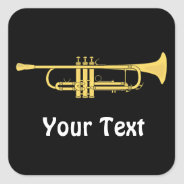 Golden Trumpet Music Theme Sheets of Square Sticker at Zazzle
