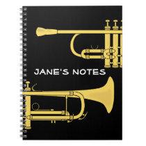 Golden Trumpet Music Theme Spiral Note Books at Zazzle