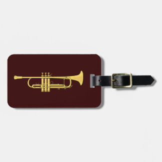 Golden Trumpet Music Theme Travel Bag Tag