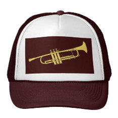 Golden Trumpet Music Theme Trucker Hat at Zazzle