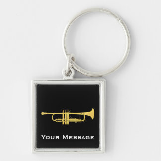 Golden Trumpet Music Theme Zip Pull Keychain