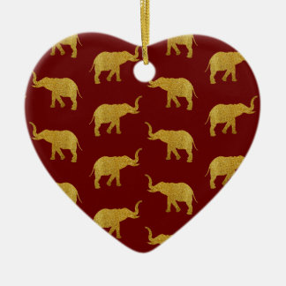 Golden Trumpeting Elephants Ceramic Ornament