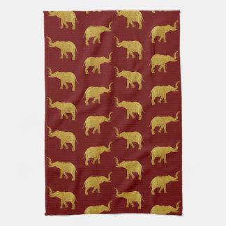 Golden Trumpeting Elephants Kitchen Towel