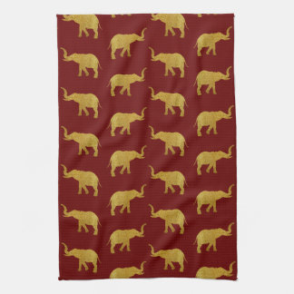 Golden Trumpeting Elephants Kitchen Towels