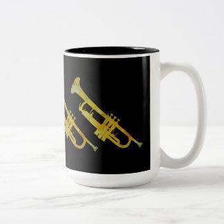 Golden Trumpets on Black Two-Tone Coffee Mug