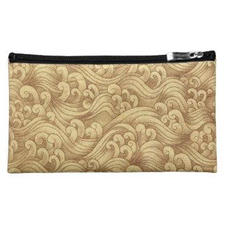 Golden Tsunami Ocean Tidal Waves Wheat Color Sea Makeup Bag